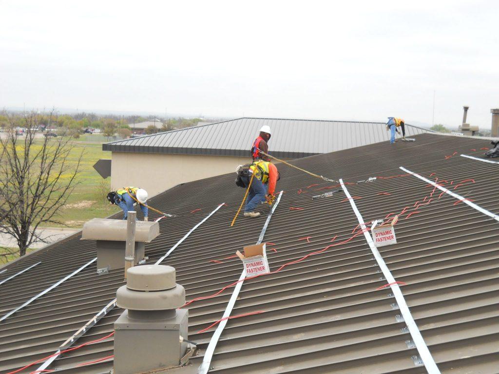 Roof replacement job underway